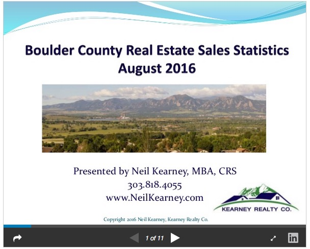 Boulder County Real Estate Statistics for August 2016