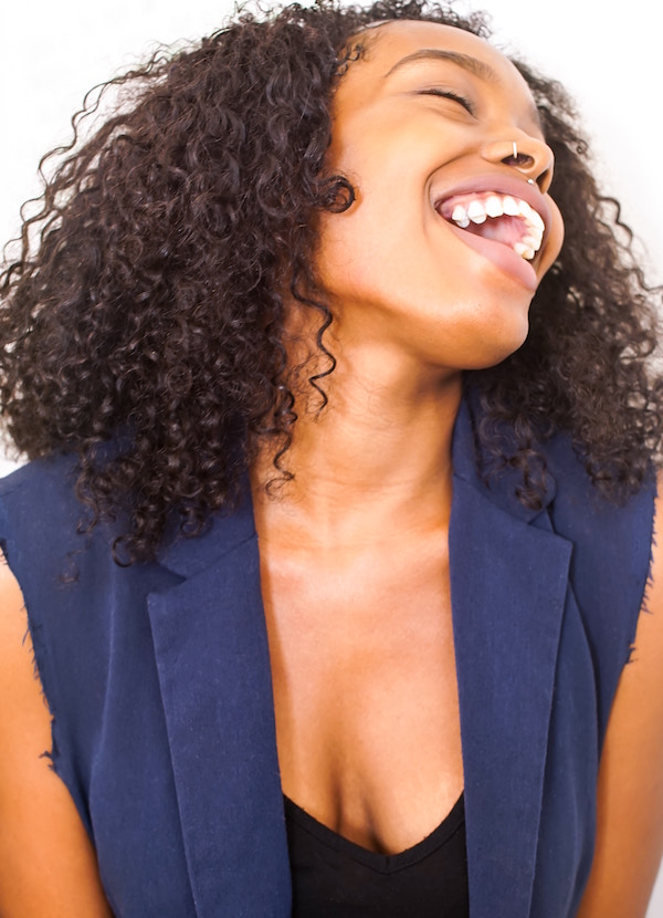 woman with piercing laughs