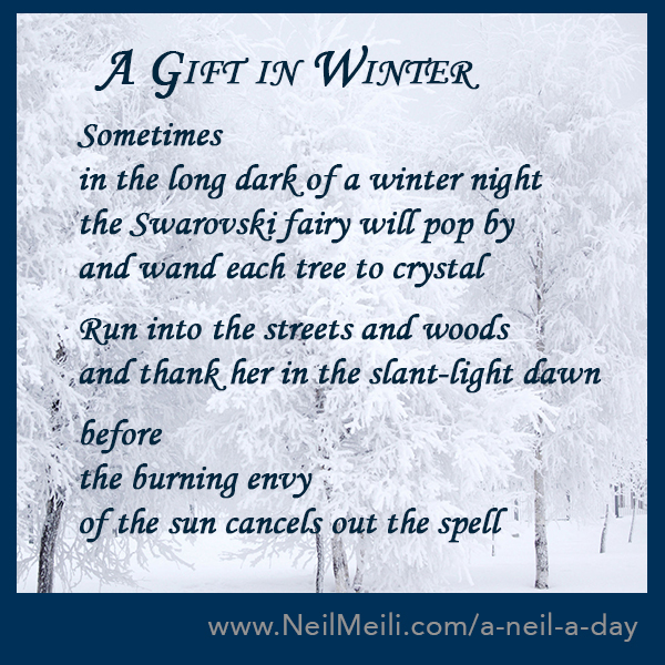 Sometimes in the long dark of a winter night the Swarovski fairy will pop by and wand each tree to crystal Run into the streets and woods and thank her in the slant-light dawn before the burning envy of the sun cancels out the spell