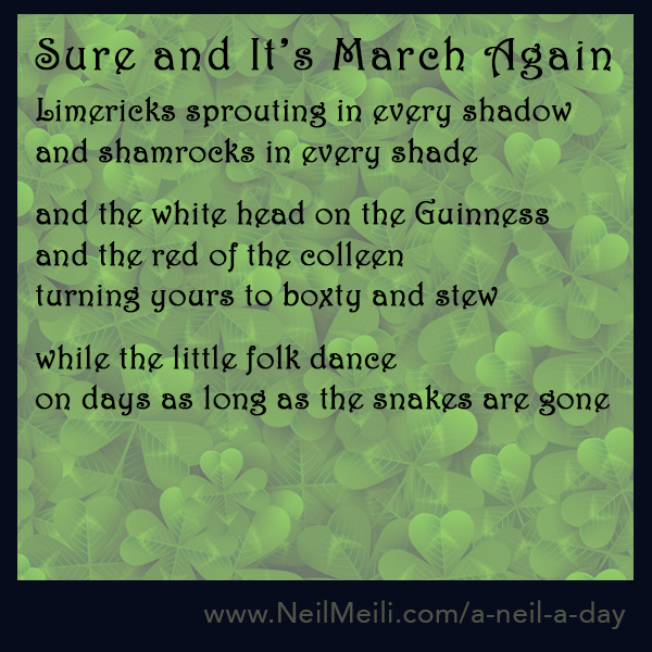 Limericks sprouting in every shadow and shamrocks in every shade  and the white head on the Guinness  and the red of the colleen turning yours to boxty and stew  while the little folk dance on days as long as the snakes are gone