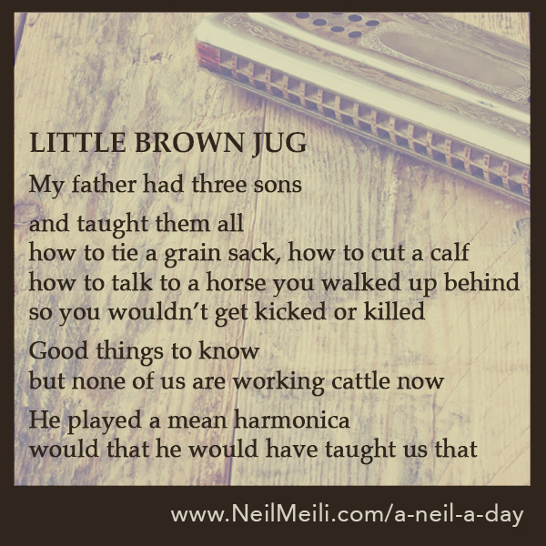 LITTLE BROWN JUG  My father had three sons  and taught them all how to tie a grain sack, how to cut a calf how to talk to a horse you walked up behind so you wouldn't get kicked or killed  Good things to know but none of us are working cattle now  He played a mean harmonica would that he would have taught us that