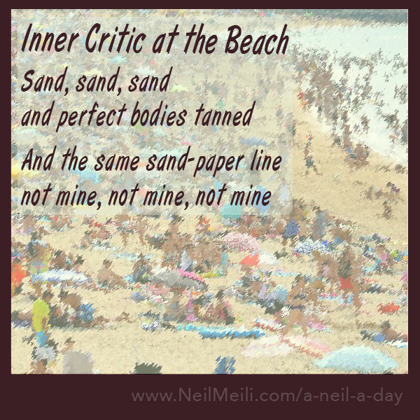 Sand, sand, sand and perfect bodies tanned  And the same sand-paper line not mine, not mine, not mine