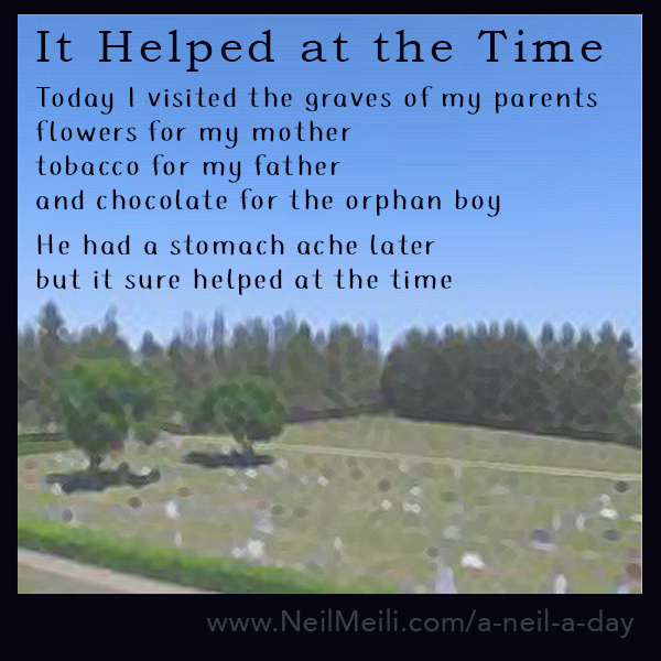 Today I visited the graves of my parents flowers for my mother tobacco for my father and chocolate for the orphan boy He had a stomach ache later but it helped at the time