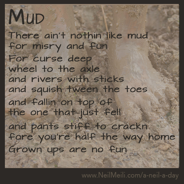 there aint nothing like mud for misery and fun  for curse deep wheel to the axle and rivers with sticks and squish between the toes and fallen on top of the one that just fell and pants stiff to cracking before you're half way home grown ups are no fun