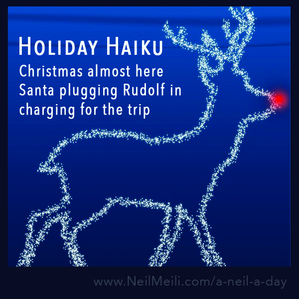 Christmas almost here Santa plugging Rudolf in charging for the trip