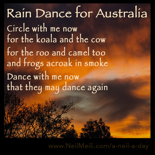 Circle with me now for the koala and the cow  for the roo and camel too and frogs acroak in smoke  Dance with me now that they may dance again