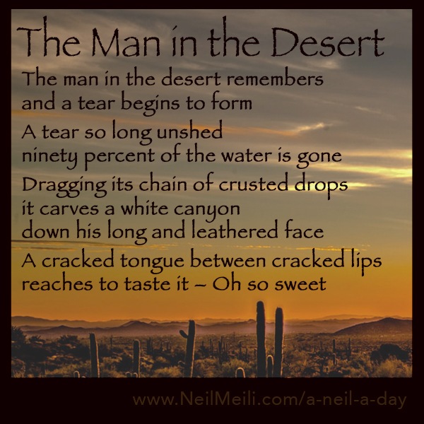The man in the desert remembers and a tear begins to form  A tear so long unshed ninety percent of the water is gone  Dragging its chain of crusted drops it carves a white canyon down his long and leathered face  A cracked tongue between cracked lips reaches to taste it – Oh so sweet