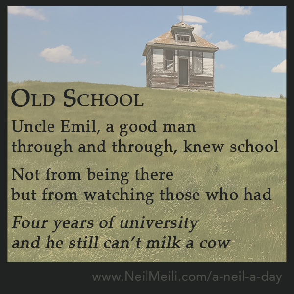Uncle Emil, a good man  through and through, knew school  Not from being there but from watching those who had  Four years of university and he still can't milk a cow