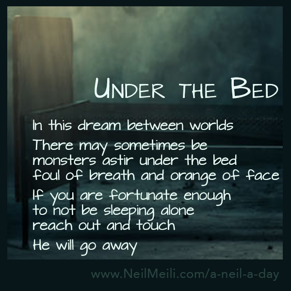In this dream between worlds  There may sometimes be monsters astir under the bed foul of breath and orange of face  If you are fortunate enough to not be sleeping alone reach out and touch   He will go away