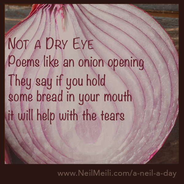 Poems like an onion opening  They say if you hold  some bread in your mouth  it will help with the tears