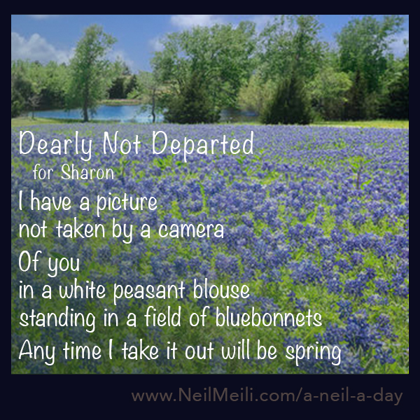 For Sharon I have a picture not taken by a camera    f you in a white peasant blouse standing in a field of bluebonnets  Any time I take it out will be spring