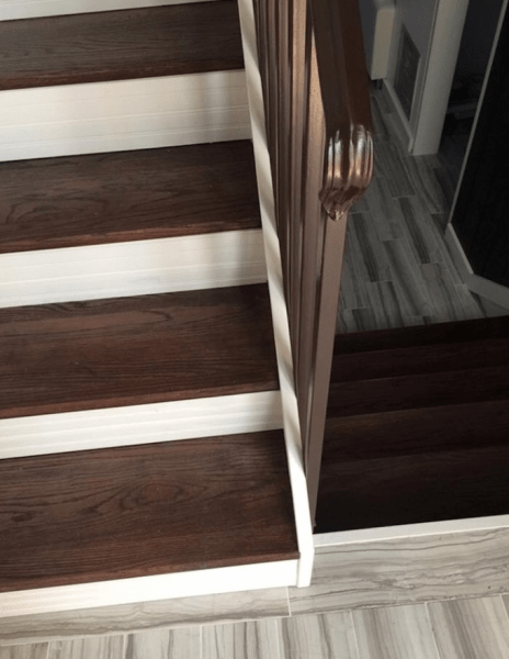 Gorgeous Staircase Condo Remodel   White Stairs With Wood Steps   Light Wood   White Riser   Outdoor   Dark   Traditional