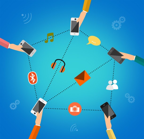 Illustration concept for mobile apps - People communicating through mobile devices
