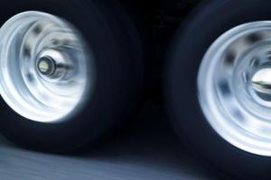 Blurred Semi Truck Tires