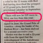 219 Races on 2014 F1 Calendar
