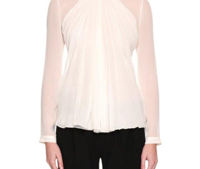 Quick Look Giorgio Armani  C B Long Sleeve Gathered Silk Georgette Blouse White