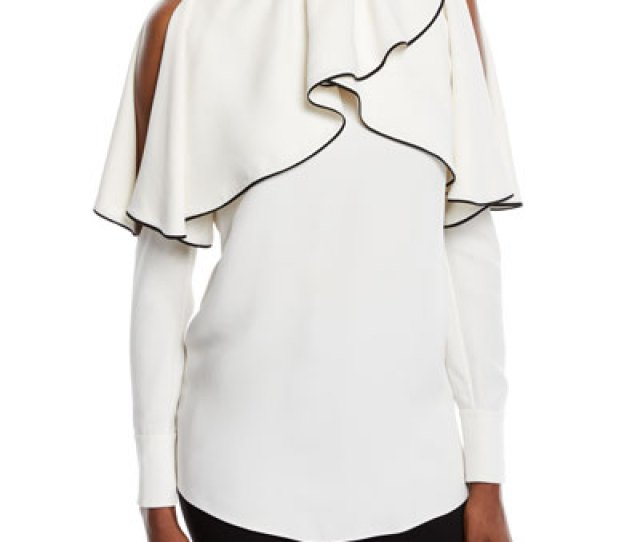 Quick Look Valentino  C B Cold Shoulder Long Sleeve Silk Cady Blouse