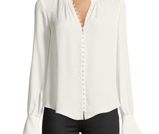 Quick Look Joie  C B Tariana Button Front Long Sleeve Silk Blouse Available In White