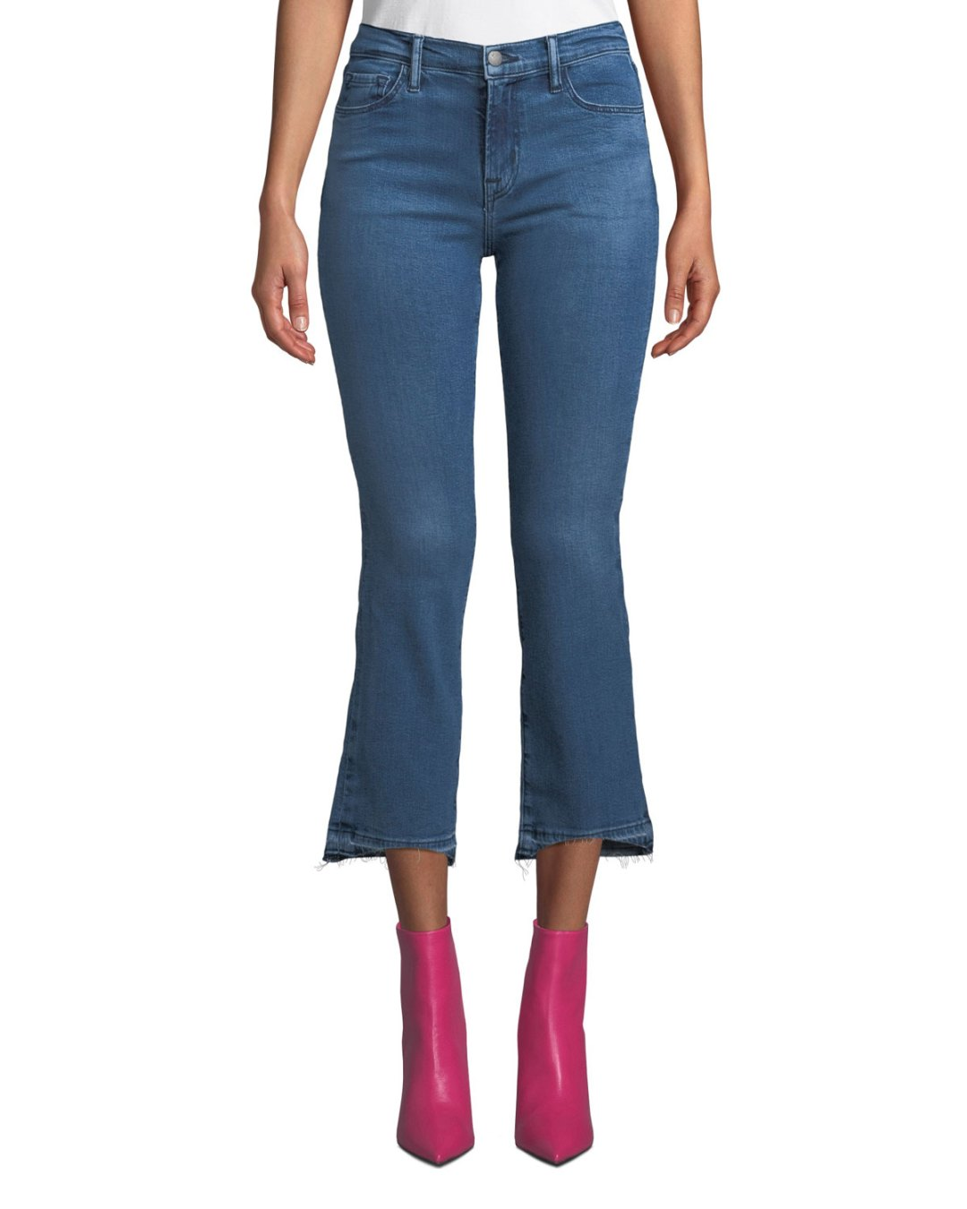 3d1f815103b02 ... $230.00 – Neiman Marcus – Selena Mid-Rise Cropped Boot-Cut Jeans with  Released Hem – $228.00
