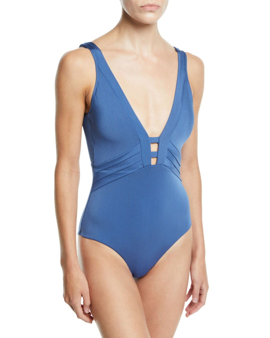 b8b611998fefac Neiman Marcus – Mirage Plunging V-Neck One-Piece Swimsuit – $215.00