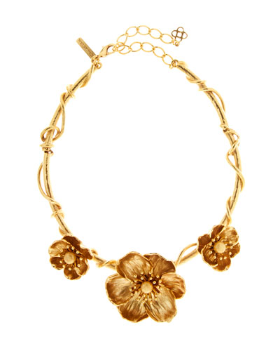 gold flower necklace neiman