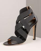 X0BET Sergio Rossi Elastic Zipper Sandal