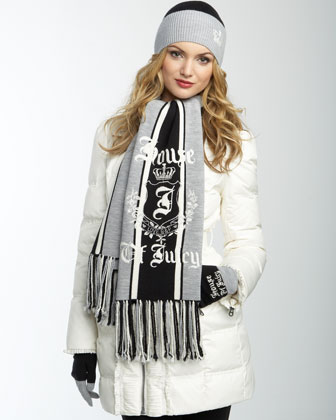 Juicy Couture Stripe Scarf, Black & Dark Gray