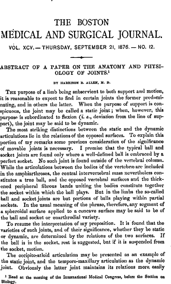 Abstract Of A Paper On The Anatomy And Physiology Of Joints NEJM