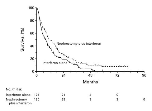 Nephrectomy Followed by Interferon Alfa-2b Compared with