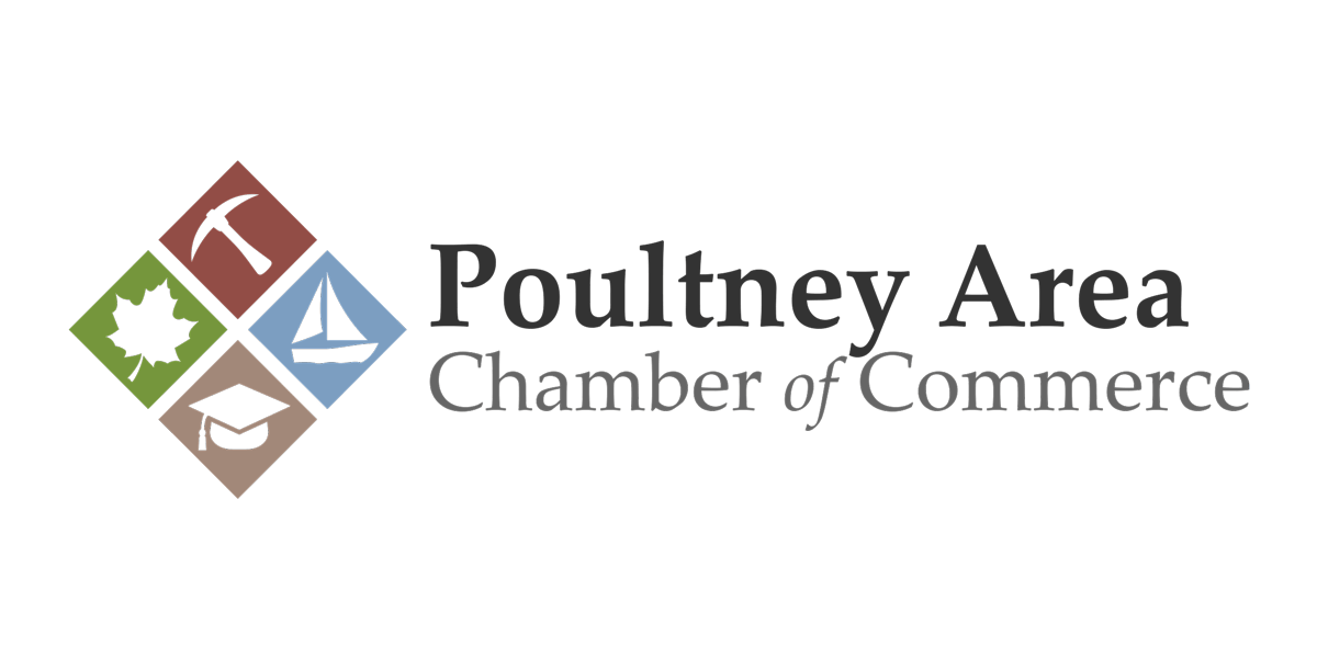 Poultney Area Chamber of Commerce Logo and Wordmark (2018) | Designed so that each diamond represents something our area is known for: Maple, Slate, Lake's Region, and Higher Education.