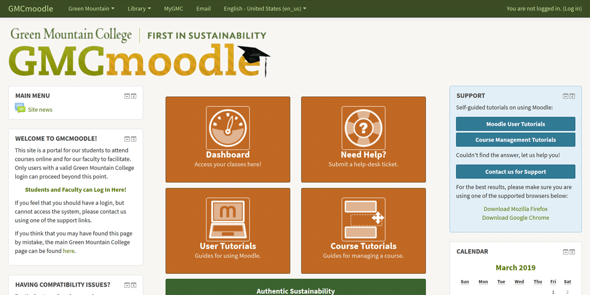 GMCmoodle (2016) | A customized landing page for Green Mountain College's Moodle site (online classrooms).