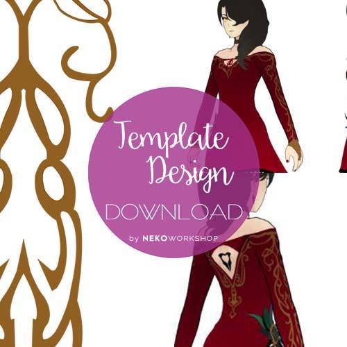 rwby cinderfall cosplay digital template