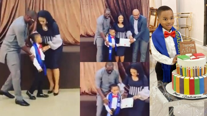 """""""Having a man stand as a father to my son has been one of my secret prayers"""" – Actress, Tonto Dikeh writes as her new man accompanies her to her son's graduation (video)"""
