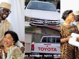 Tonto Dikeh's man, Prince Kpokpogri finally takes delivery of car she bought him on his birthday (video)