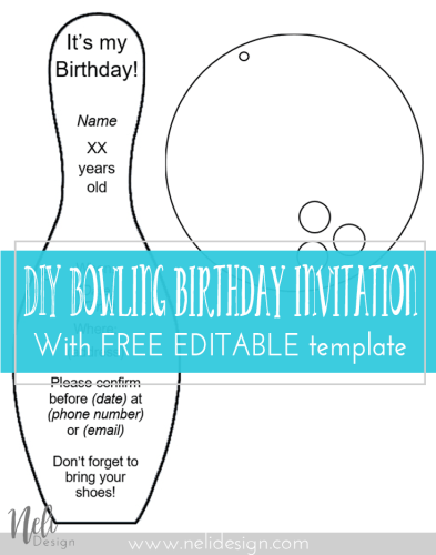 Diy bowling birthday invitations nelidesign diy bowling birthdayt invitations birthday invitations party free template printable filmwisefo