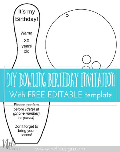 diy bowling birthday invitations nelidesign