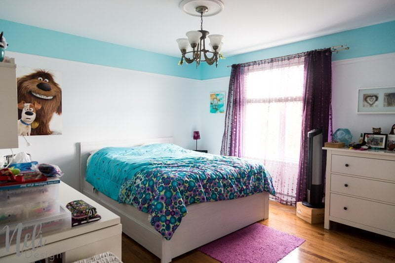 Tween Girl's Bedroom Makeover | $100 Room Challenge | Turquoise | Teal | Purple | Reading nook | Desk | Bed | Headboard | DIY | Home Decor | Mauve | Chambre d'une fille pré-adolescente | Rénovation | Décor | bureau | coin lecture