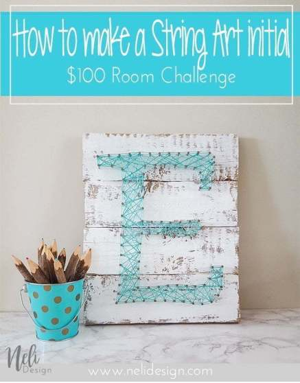 String Art Letter Initial | DIY | Teal | Easy craft for kids | Farmhouse | Vintage | Tutorial | Home Decor | Pattern | Corde | Inspiration | Initiale
