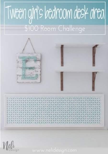 Desk area makeover   girl's room   pegboard   shelves   string art   mouldings   DIY   Tutorial   panneau perforé   bureau   chambre jeune fille   tablettes   art ficelle