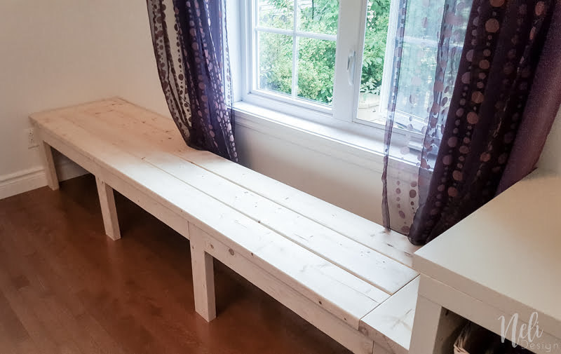 DIY Window Bench | Reading Nook | Girl's Bedroom | Tutorial | Farmhouse | Wood | Whitewash | Window bench | Girls Bedroom | Reading corner | Instructions