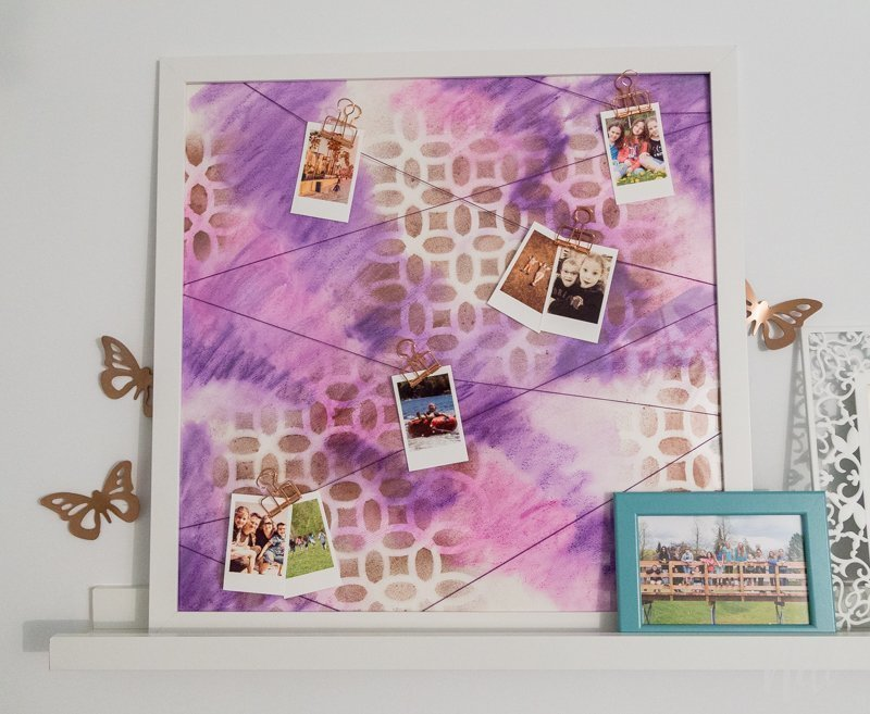 DIY Frame Pictures hang string art Pictures watercolor Instax mini stencil frame memories photographs watercolor stencil tricks
