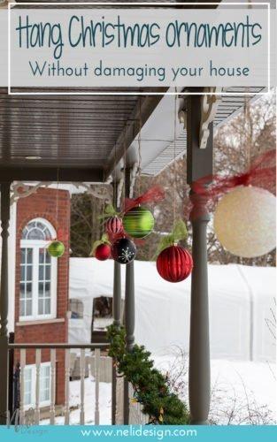 Hang Christmas balls ornaments outside, Christmas decoration, DIY, Tutorial, Ribbon, seasonal, Accrocher des décorations de Noël dehors, boules de Noël, facile #christmas #christmasdecor #outside #boulesdenoel #deconoel #tip #facile #homedecor #christmasspirit #winter
