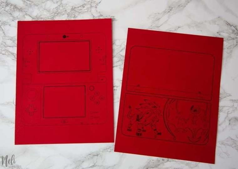 Nintendo 3DS Birthday Invitation Printed On Red Cardstock