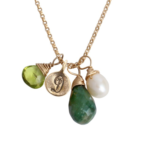 Initial And Birthstone Charm Necklace Gold Covey