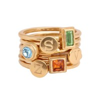 Design your Own Gold Stackable Rings with Initial and ...