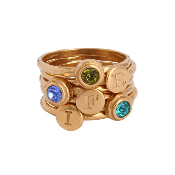Stacking Mother' Ring In Gold With Initial Rings