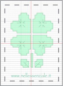 schema punto croce quadrifoglio
