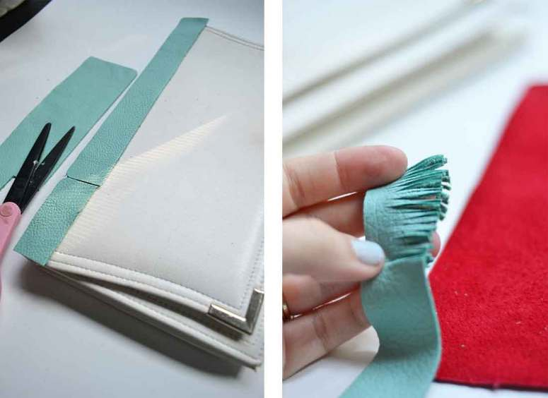 Simple steps to create a no-sew fringe clutch.