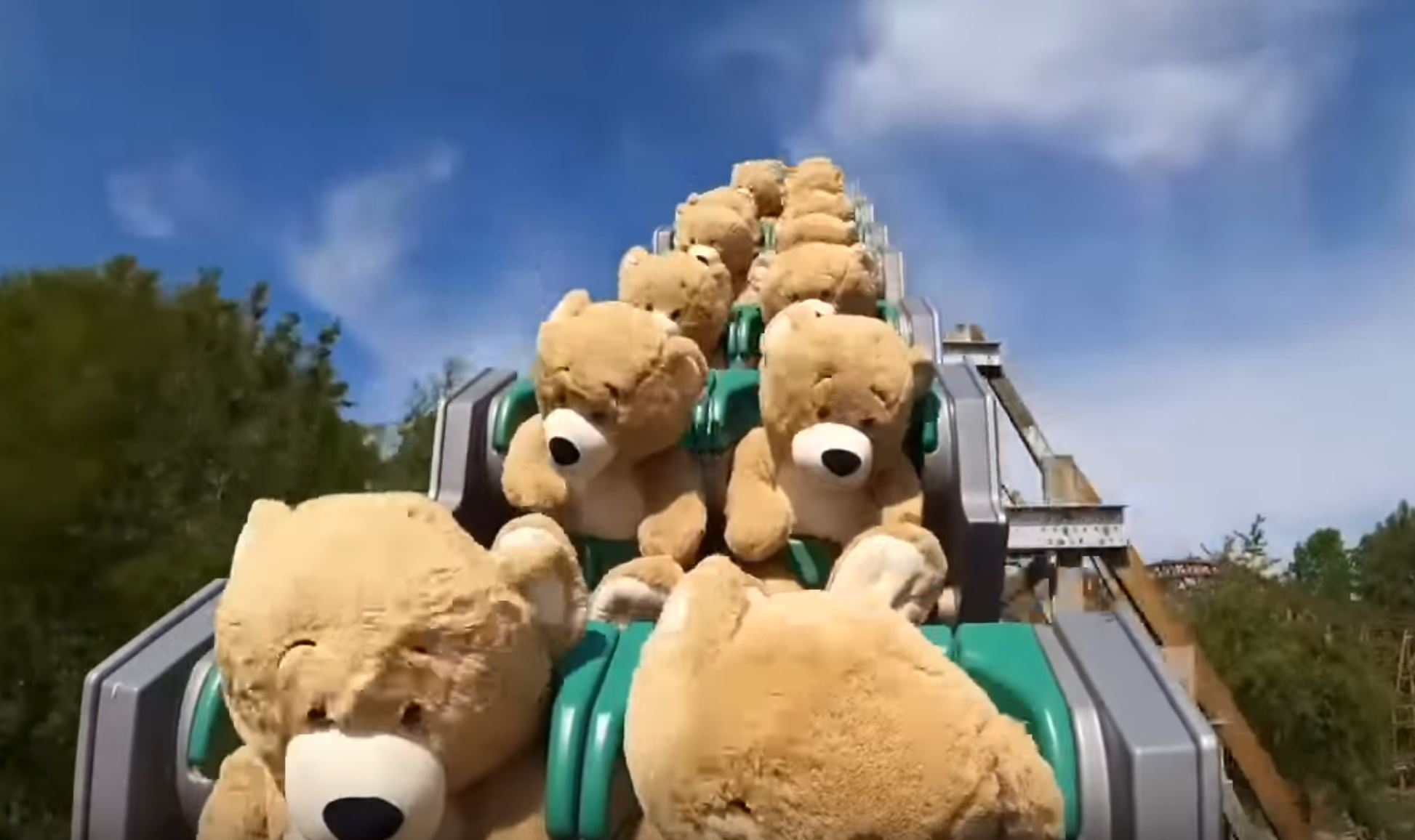 Teddy Bears Ride A Rollercoaster
