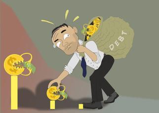 man carrying debt bag
